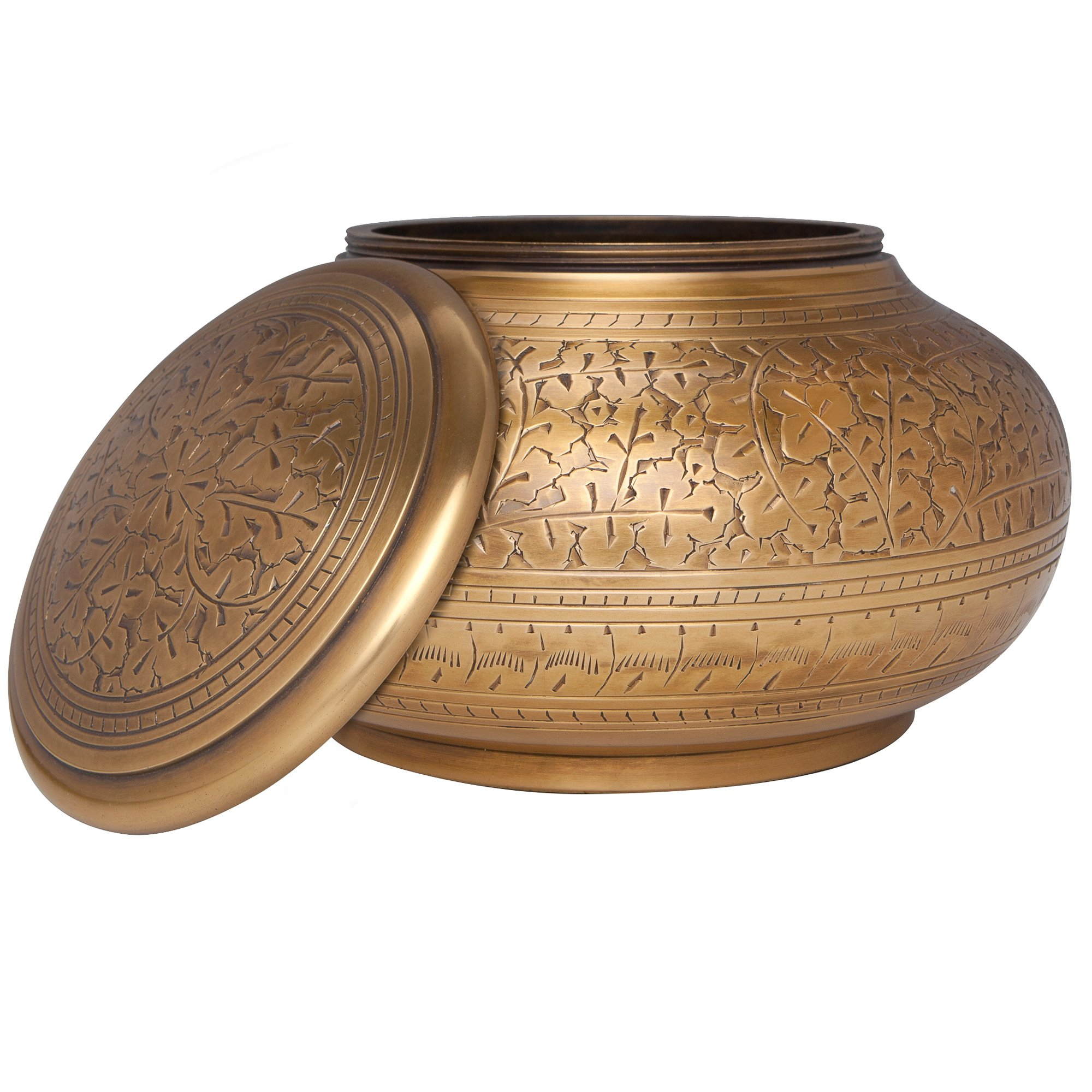 Bronze Antique Brass Funeral Urn by Liliane Memorials - Cremation Urn for Human Ashes - Hand Made in Brass - Suitable for Cemetery Burial or Niche - Large Size fits remains of Adults up to 110 lbs by Liliane Memorials (Image #2)
