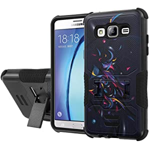 Galaxy [On5] Armor Case [NakedShield] [Black/Black] Urban Shockproof Defender [Kick Stand] - [Chaos] for Samsung Galaxy [On5]