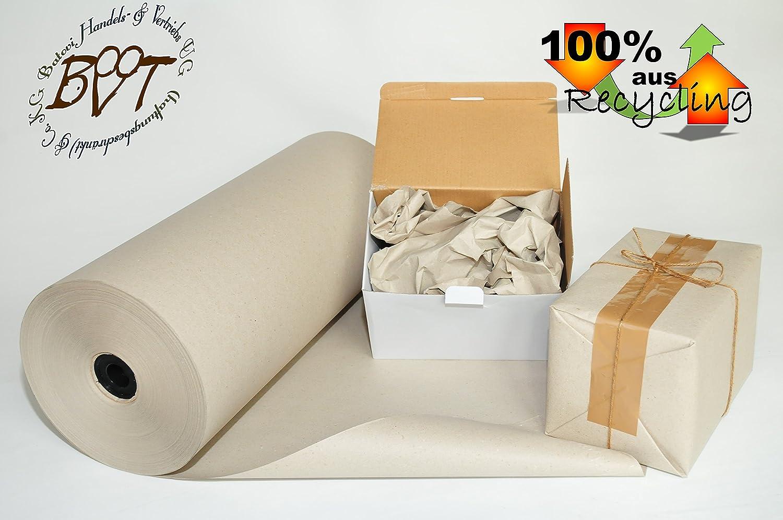 Rolle Packpapier ca. 50 cm x ca. 220 m, ca. 20 cm Ø D, ca. 10 kg pro Rolle, ergiebig und sparsam, grau, starke Polsterkraft 90 g/m² Recyclingpapier, robuster und reißfester als 80 g, Natron-Kraftpapier, Secare Rolle, Verpackungspapier,umw