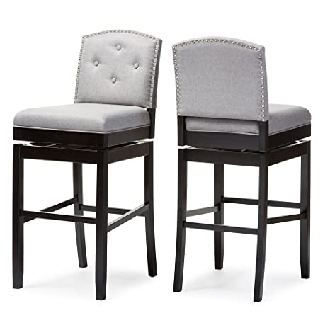 Remarkable Baxton Studio Bbt5220 Grey Ginaro Modern Contemporary Fabric Button Tufted Upholstered Swivel Bar Stool Grey Uwap Interior Chair Design Uwaporg