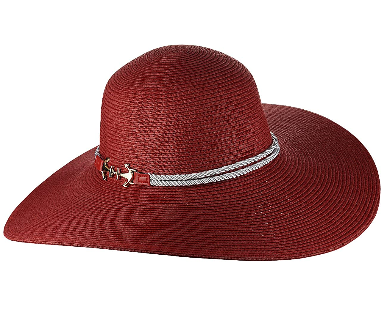 Something Special Women's Nautical Anchor Rope Band Floppy Brim Sun Hat Black