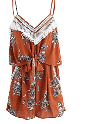 1779b06cf0f Amazon.com  Puissant Unique v Neck Tassel Print Jumpsuit Romper Women  Backless Bow Short Playsuit Sleeveless Chiffon Beachs  Clothing
