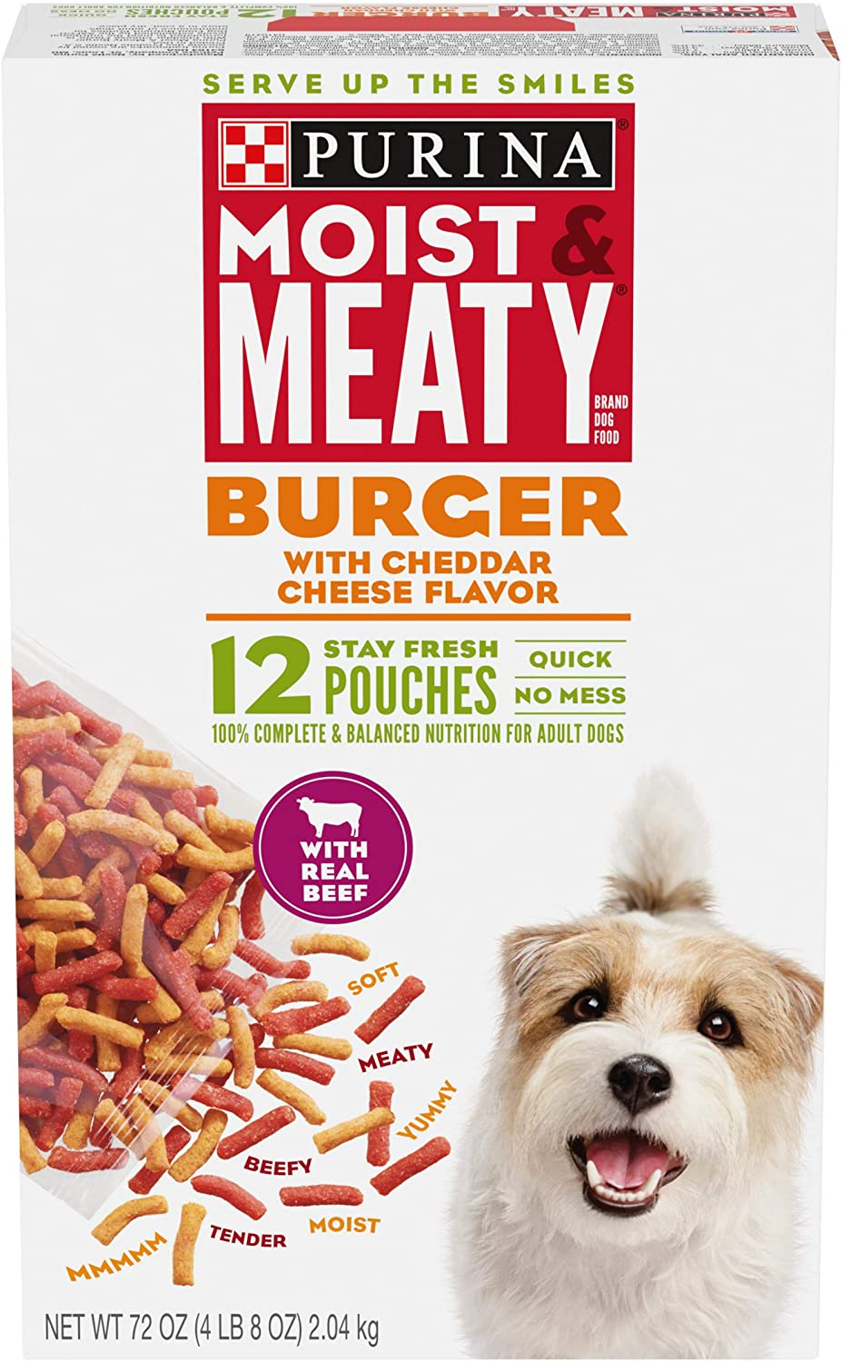 Purina Moist & Meaty Dry Dog Food, Burger with Cheddar Cheese Flavor - (4) 12 ct. Pouches