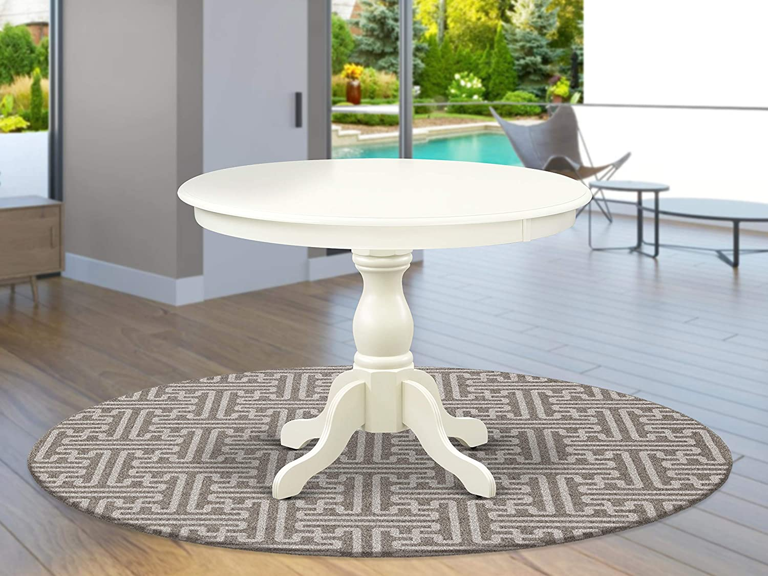 East West Furniture HBT-LWH-TP Table, Round