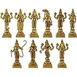 Artvarko Brass Dashavatara Dasavatharam of Lord Vishnu Statues Ten Incarnations Avatars Idol Murti for Mandir Puja Temple -Height 6 Inch