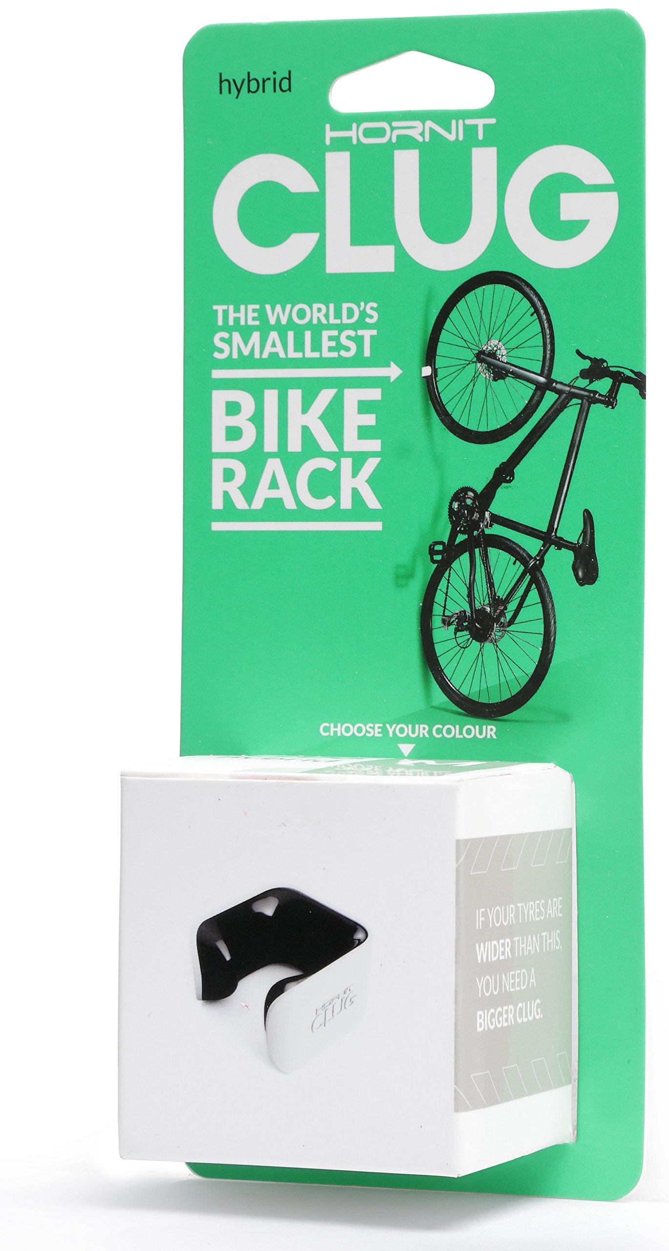CLUG Bike Clip Indoor Outdoor Hybrid Bicycle Rack Storage System, White/Black, 33-42mm