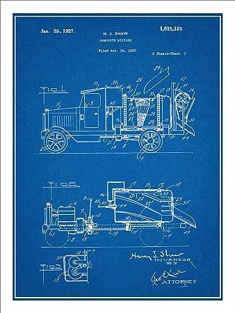 Amazon 1925 concrete mixer truck patent print art poster 1925 concrete mixer truck patent print art poster unframed blueprint malvernweather Image collections