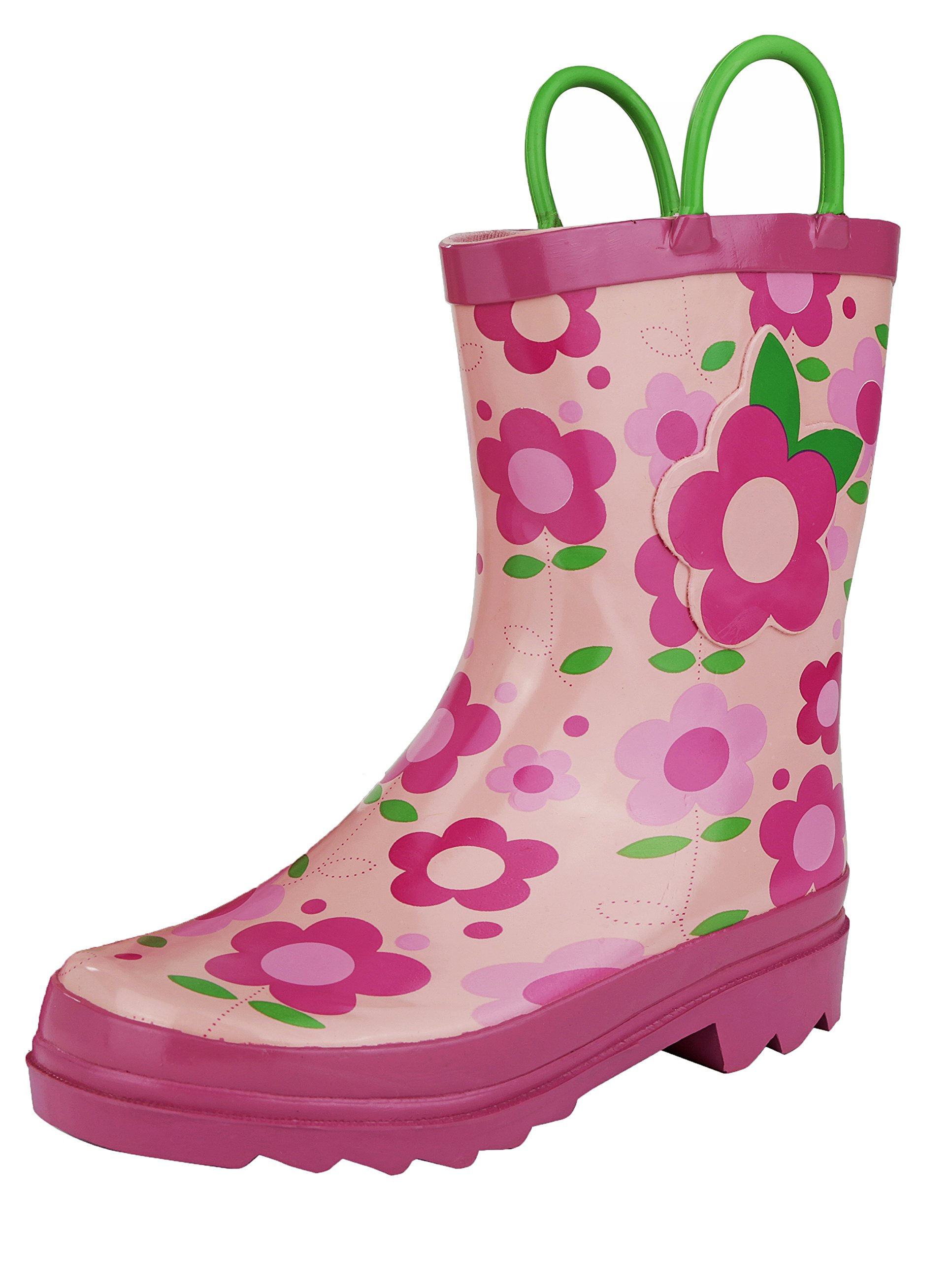 Little Girl's Pink Flower Rain Boots Sizes 11/12