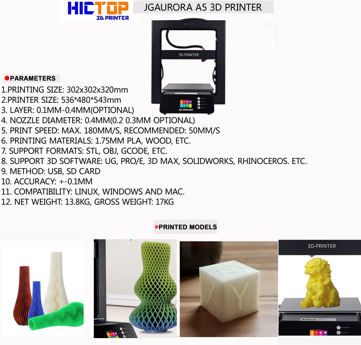 Impresora 3D JGAURORA A5S 302x302x320mm con copias de currículum ...