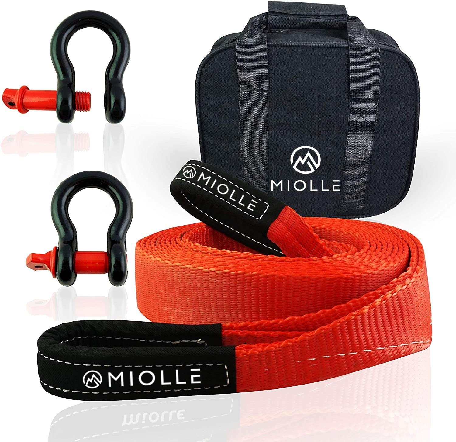 "20000lb Snatch Ropes for Truck and Car Recovery Rope Heavy Duty with Loops and D-Hook Shackles Miolle Tow Strap 2/""x20/' Towing Straps"