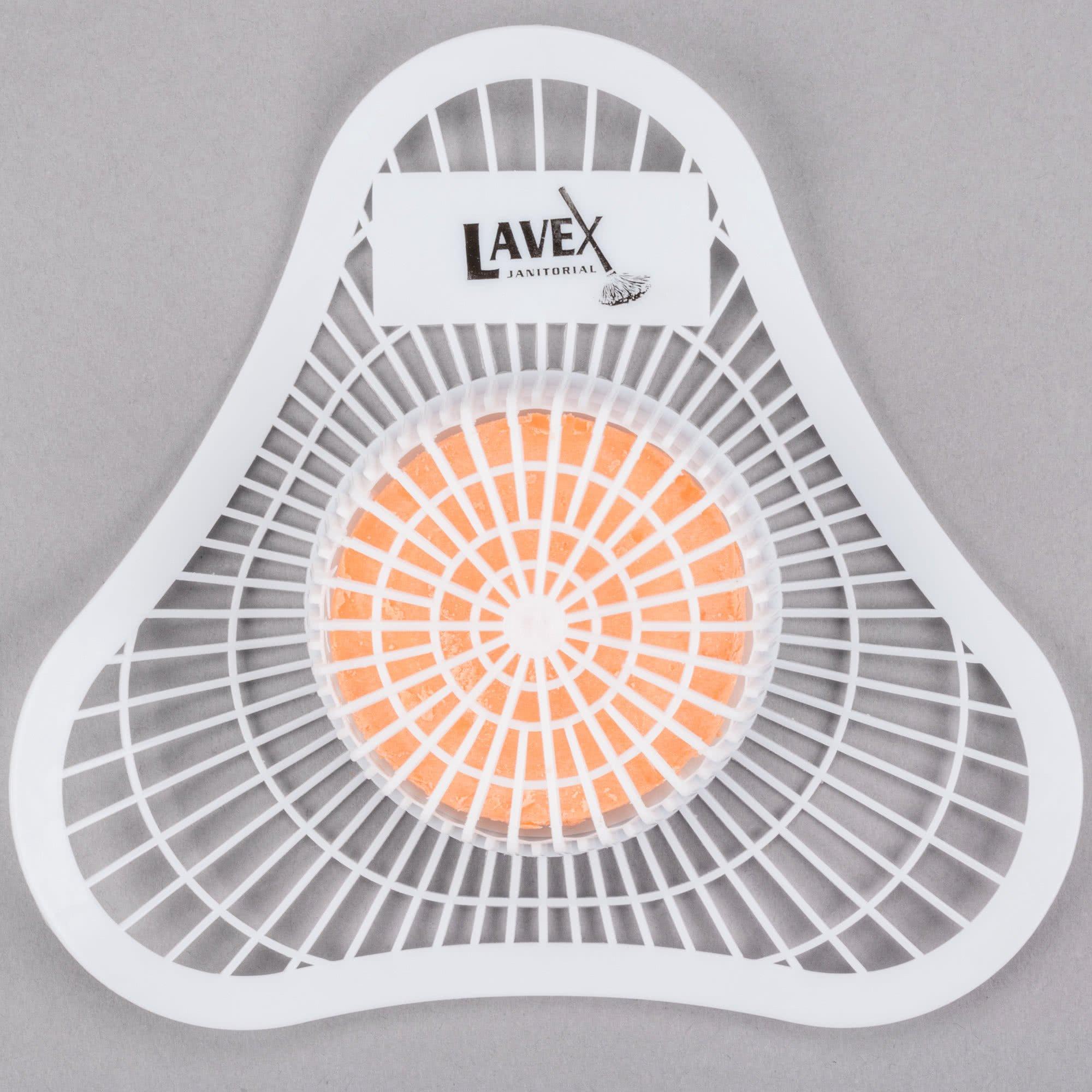 Lavex Urinal Screen and Deodorizer | Orange Deodorizing Block | Universal Fit | Citrus Scent | 12 Pack