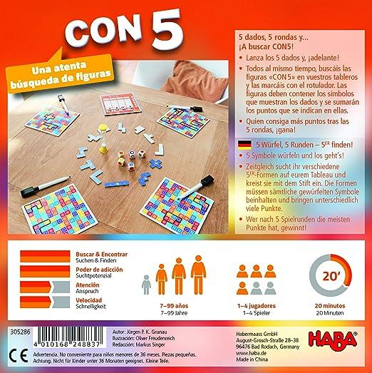 HABA-con 5-ESP 305286-CON5-ESP, Familiar a Partir de 7 años, 2 Opciones de Juego y una Variante en Solitario, también Adecuado para el daltonismo, Multicolor (H305286): Amazon.es: Juguetes y juegos