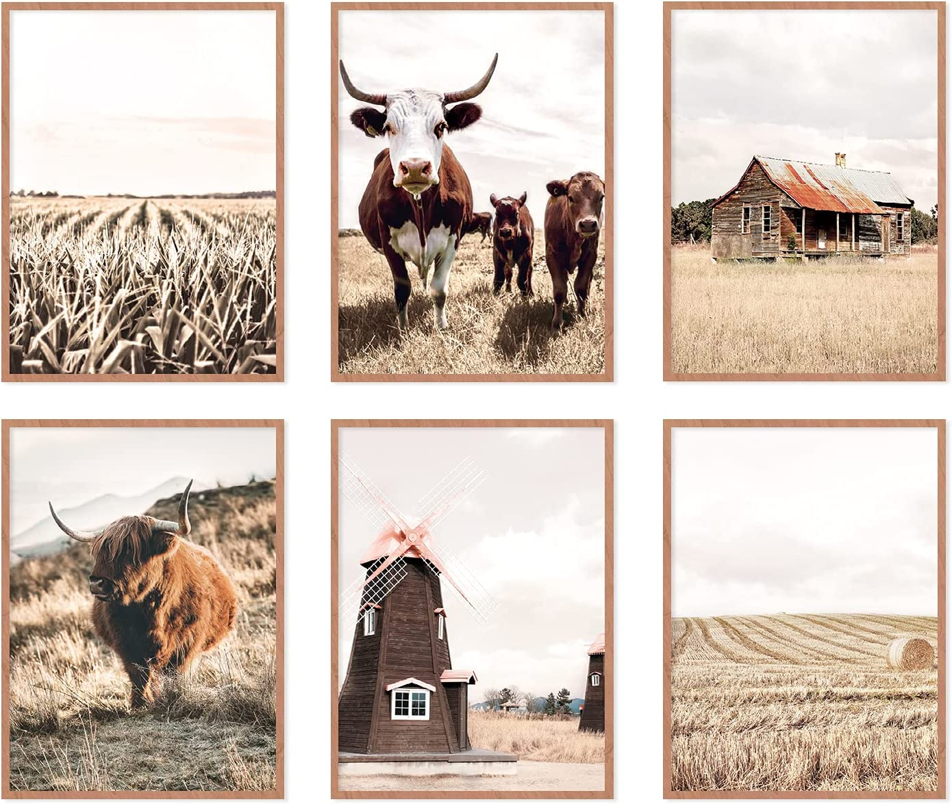 YUMKNOW Farmhouse Cow Wall Decor - Unframed Set of 6, 8x10, Modern Country Highland Cow Pictures for Bathroom, Bedroom Cottage Rustic Art Vintage Posters for Living Room Neutral Cow Decor Stuff Gifts
