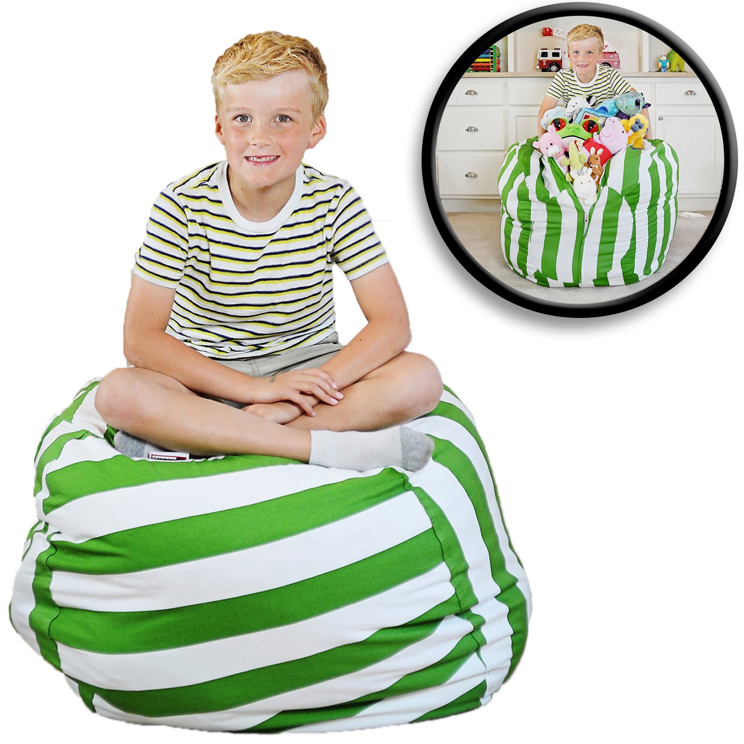 "Extra Large - Stuffed Animal Storage Bean Bag Chair - Premium Cotton Canvas - Clean Up The Room And Put Those Critters To Work For You! - By Creative Qt (38"", Green Stripe)"