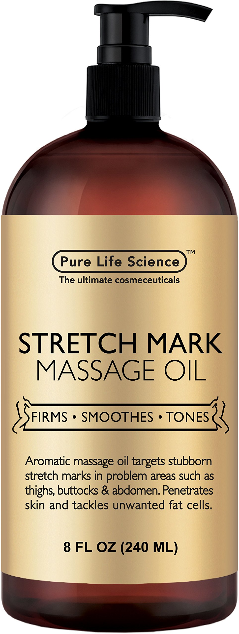 Anti Stretch Marks Massage Oil – All Natural Ingredients – Penetrates Skin 6X Deeper Than Stretch Mark Cream - Targets Unwanted Fat Tissues & Improves Skin Firmness - 8 OZ by PURE PLANT HOME (Image #1)
