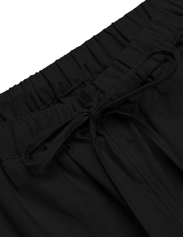 JINIDU Mens Linen Trousers Loose Casual Elastic Drawstring Yoga Beach Pants