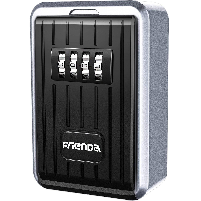 Key Storage Box Wall Mount Key Lock Safe, 4-Digit Combination, Frienda Resettable Key Cabinets for Indoor/Outdoor Use, Zinc Alumium Alloy, Weather Resistant