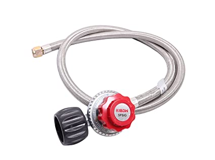 KIBOW 0~5PSIG High Pressure Adjustable Propane Regulator 4FT Stainless  Steel Braided Hose-Type 1(QCC 1) Connection