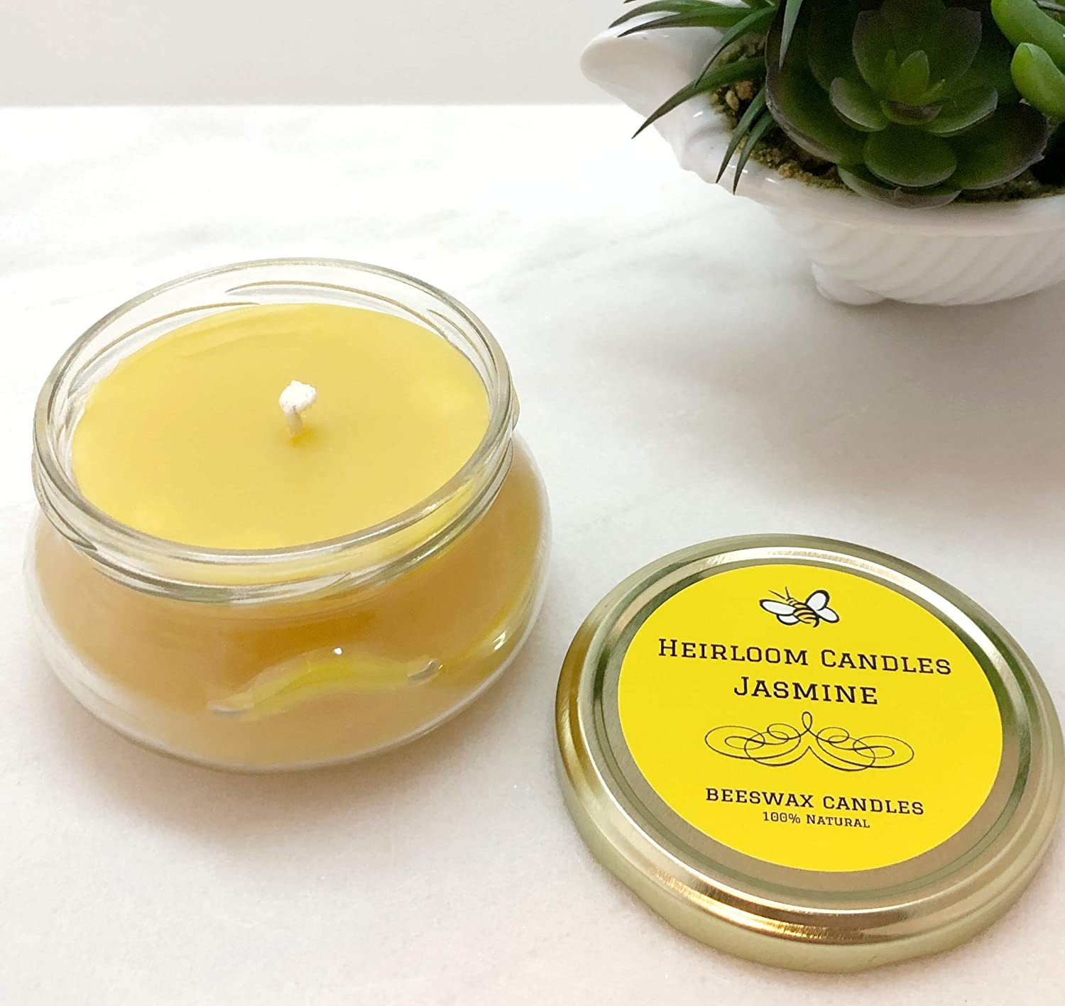 Mothers Day Gift Essential Oil Candle Spring Candles 6oz Jasmine Beeswax Candle Strong Floral Scent
