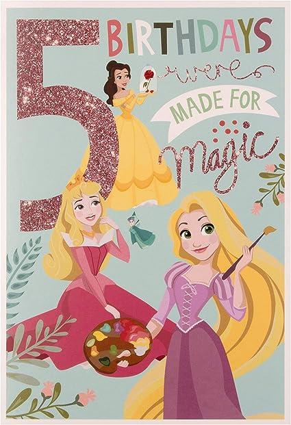 Hallmark Carte D Anniversaire Pour 5 Ans Motif Princesse Disney Amazon Fr Fournitures De Bureau