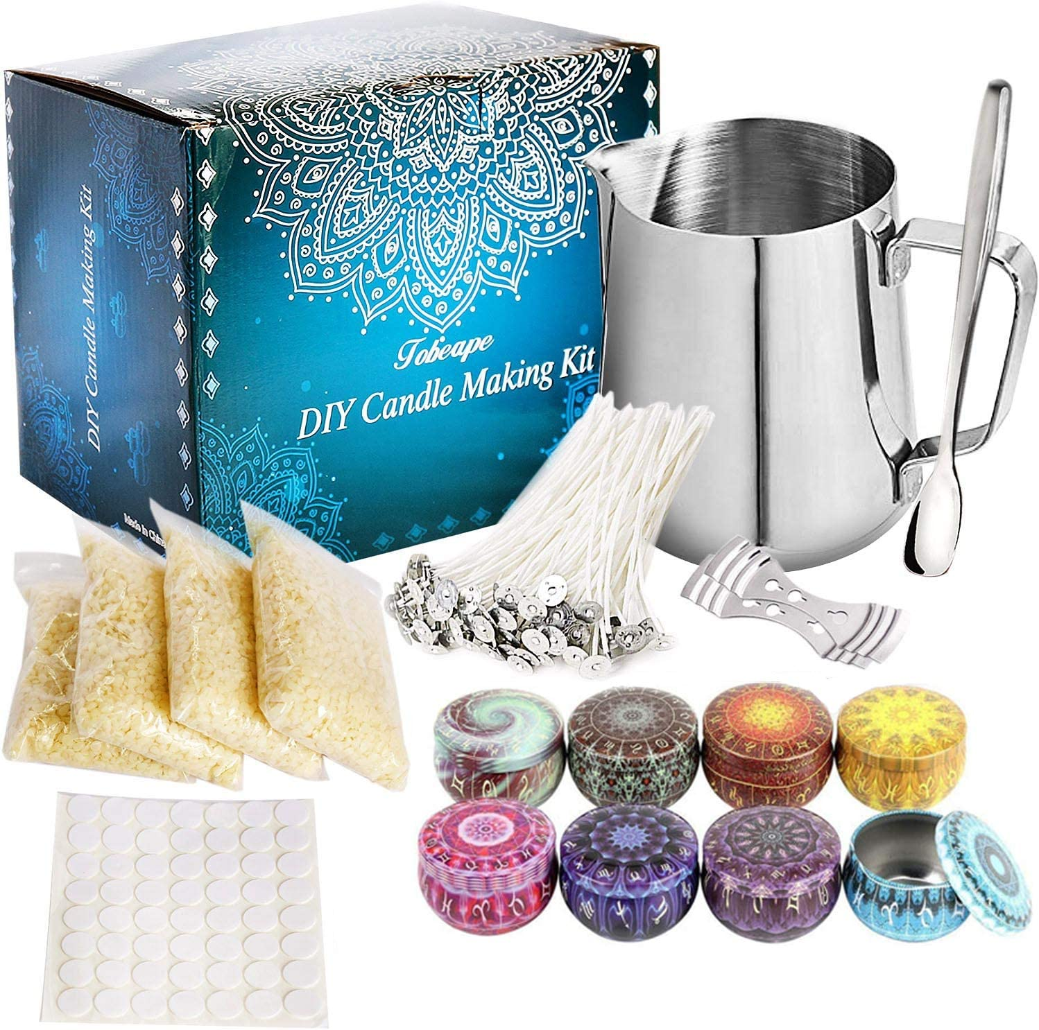 Beeswax Aebor DIY Candle Making Kit Supplies Candle Wicks Wicks Sticker Candle Craft Tools Includes Candle Make Pouring Pot Candles tins and Spoon. Candle Wicks Holder