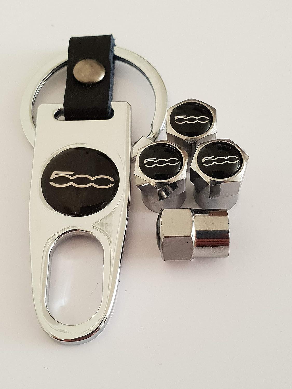 Speed Demons Fiat 500 Chrome Robinet poussière Casquettes avec clé Keychain Porte-clé pour Tous Les modèles en Plastique antiadhésif