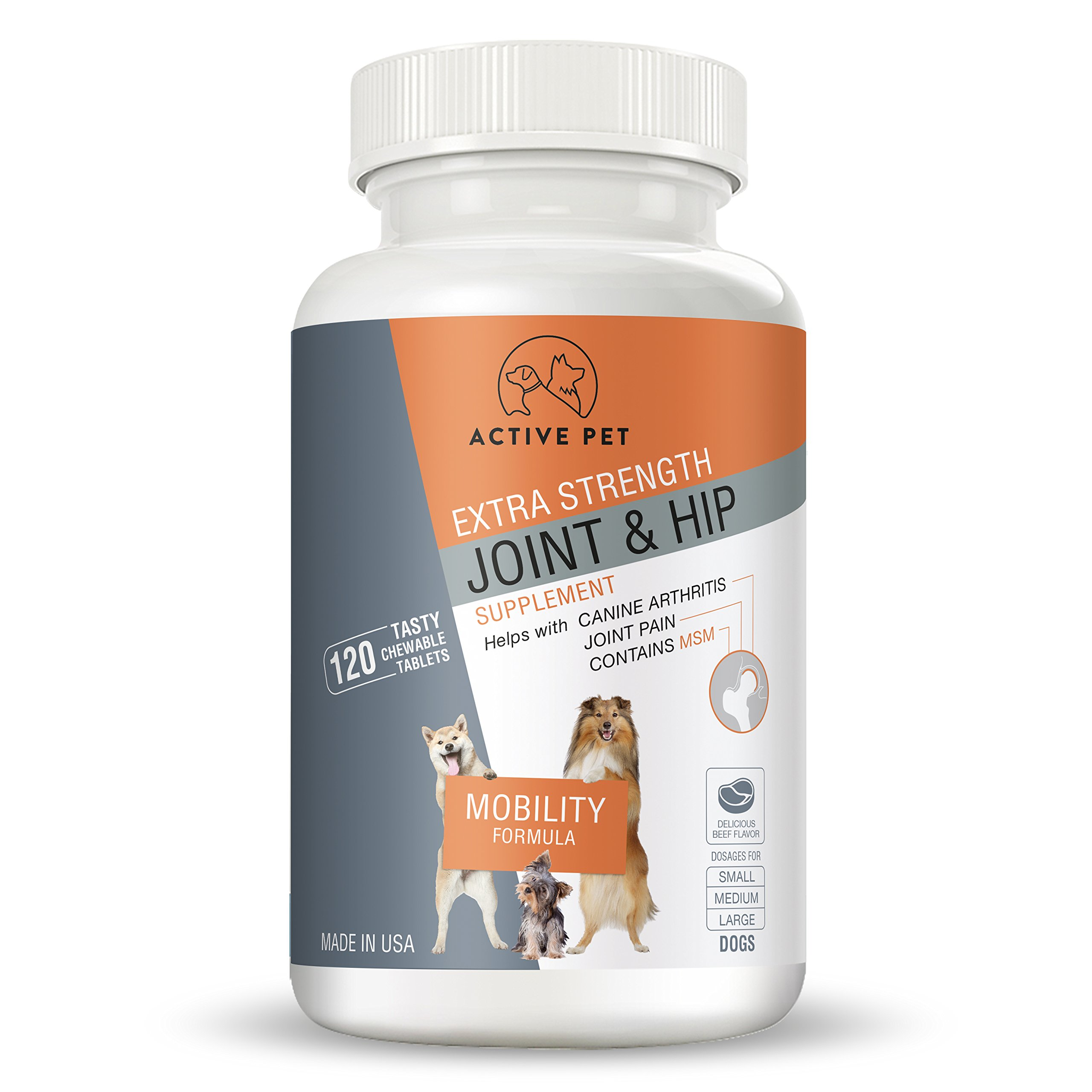 ActivePet Extra Strength Hip and Joint Mobility Formula Dog Supplement With MSM, Glucosamine and Chondroitin Antioxidant, For Joint Pain and Inflammation in Pets - 120 Chewable Tablets