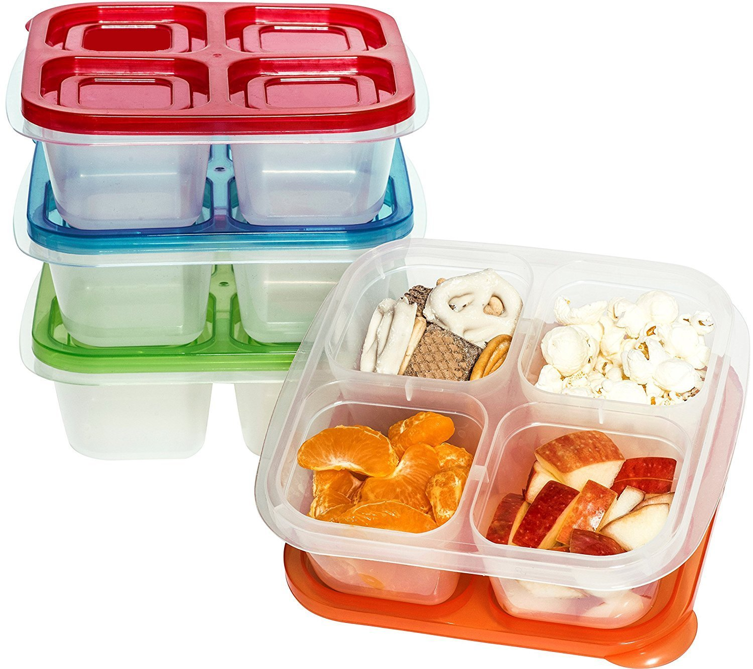 4 Compartment with Lids - Lunch Box - 4 Compartment Snack Box