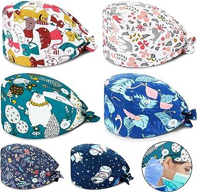 Unisex Scrubs Printed Working Cap Beauty Hats Printed Wrok Wear Adjustable
