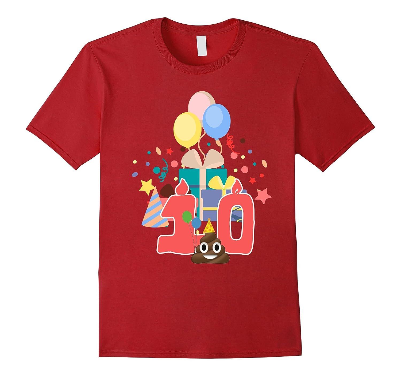 10th Birthday Shirt Poop Emoji 10 Year Old
