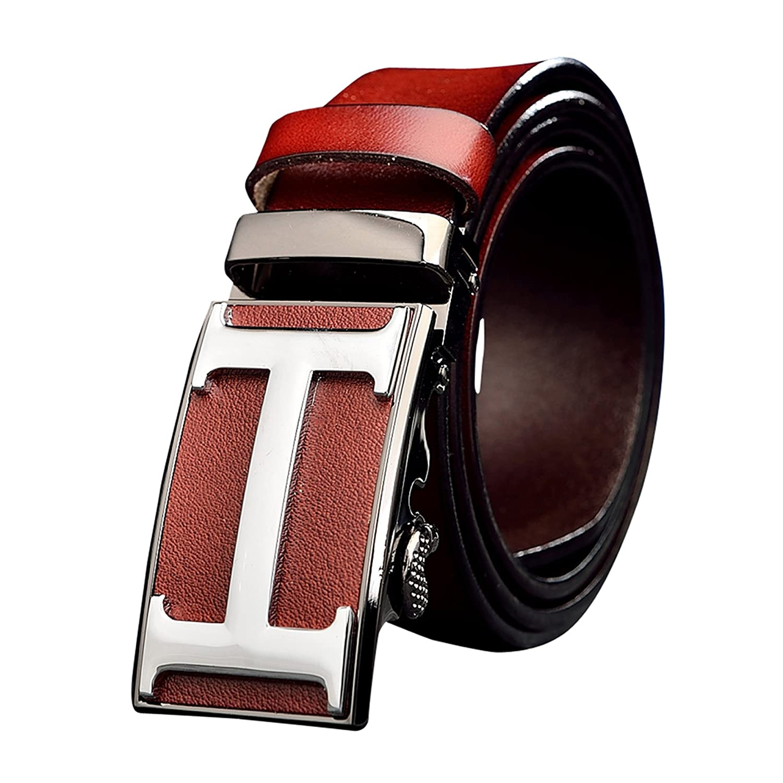 Menschwear Mens Full Genius Leather Belt Adjustable Automatic Buckle 35MM