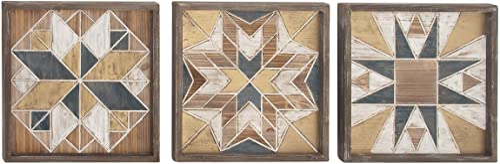 Deco 79 94600 Geometrical Wooden Wall Decor Set of 3