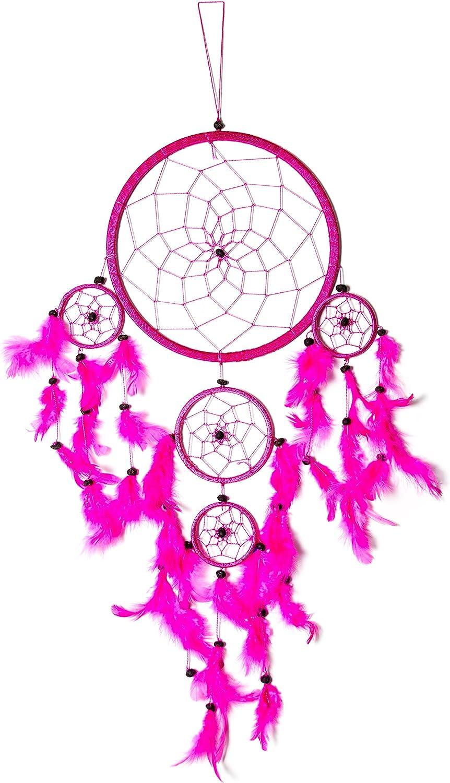 Dreamcatcher Capteur de r/êves Dream Catcher Traum Bons r/êves Enfant Decor Dreamcatchers Amerindien Cuir Rouge Rose Fuchsiaa
