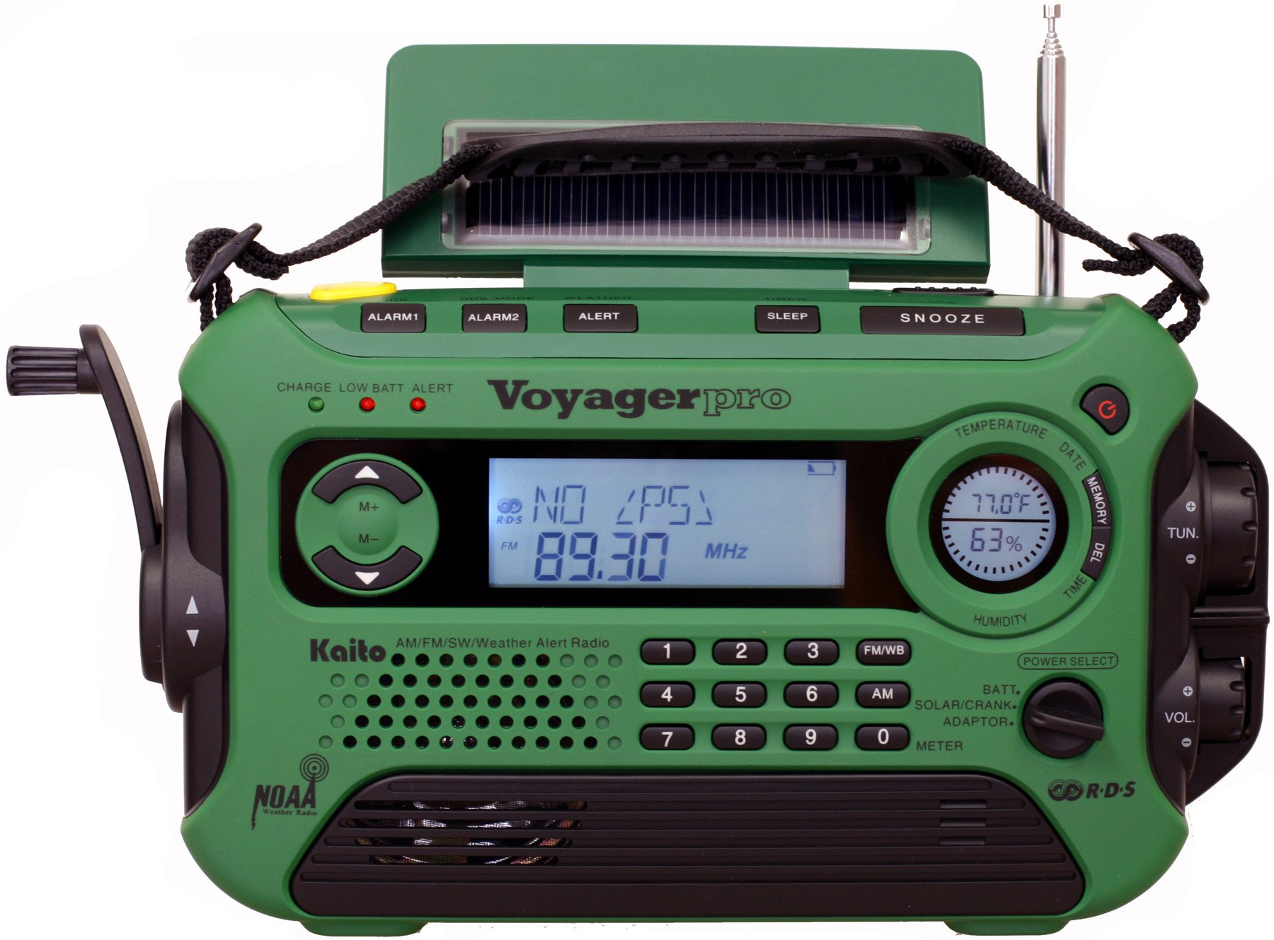 Kaito Voyager Pro KA600 Digital Solar Dynamo,Wind Up,Dynamo Cranking AM/FM/LW/SW & NOAA Weather Emergency Radio with Flashlight, Reading Lamp Alert,Smart Phone Charger & RDS and Real-Time Alert, Green by Kaito