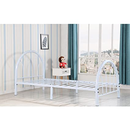 Amazon Com Kids Bed For Girls Or Boys Twin Size Metal Platform