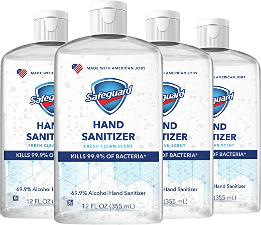 Safeguard Antibacterial Hand Sanitizer, Fresh Clean Scent, Contains Alcohol, 12 Oz (Pack of 4)
