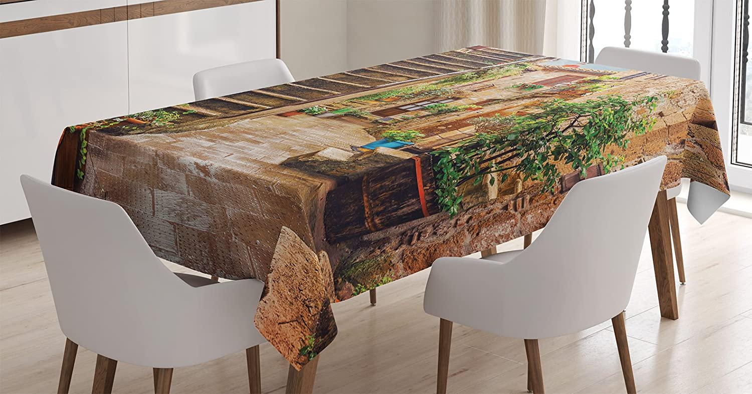Ambesonne Tuscan Decor Tablecloth, View of an Old Mediterranean Street with Stone Rock Houses in Italian City Rural Culture Print, Dining Room Kitchen Rectangular Table Cover, 60 X 90 Inches