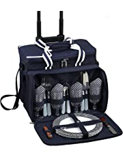 Picnic at Ascot Bold Cooler for 4 with Removable Wheeled Cart, Navy