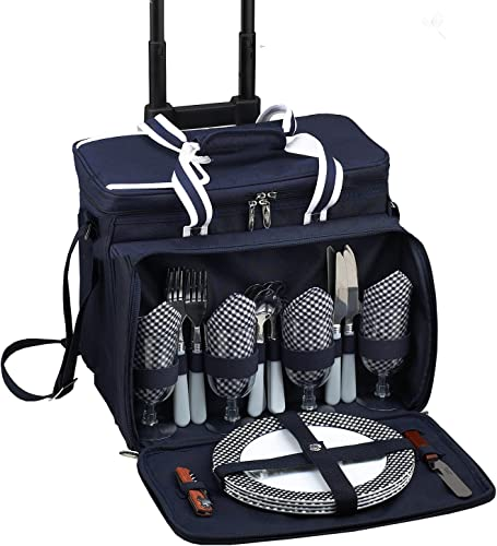 Picnic at Ascot Original Insulated Picnic Cooler with Service for 4 on Wheels-Designed Assembled in the USA