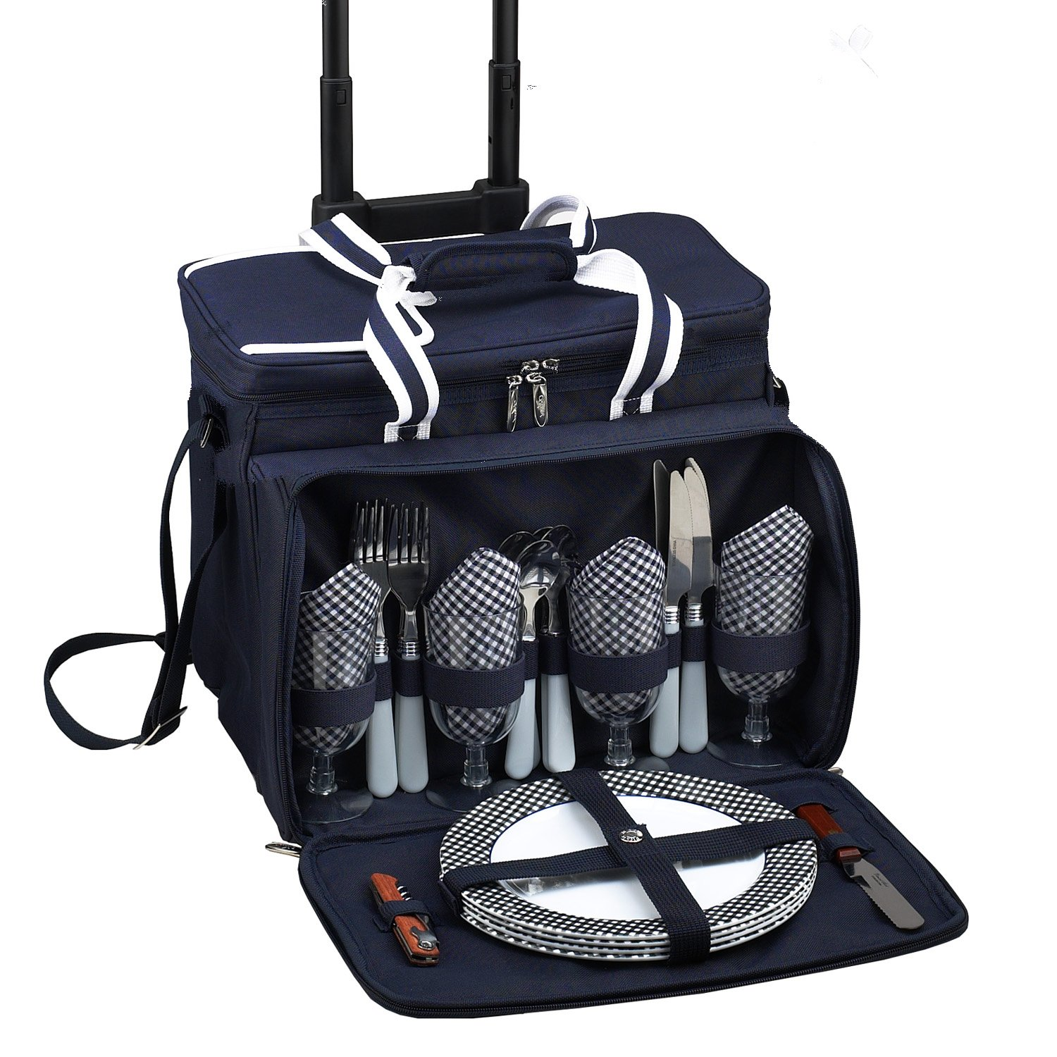 Picnic at Ascot Original Insulated Picnic Cooler with Service for 4 on Wheels-Designed & Assembled in the USA by Picnic at Ascot