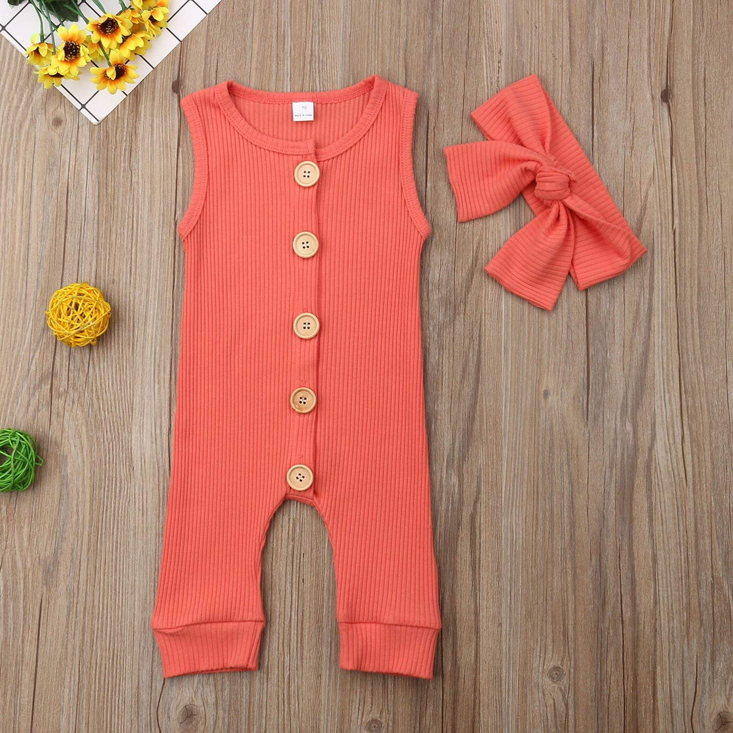Headband Ribbed Jumpsuit Baby Girls Romper Newborn Infant Baby Girl Boy 2Pcs Outfit Solid Romper