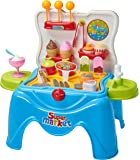 Children's Pretend Play Ice Cream Playset Toy In Foldable Stool- Dessert Play (39 Piece Set)