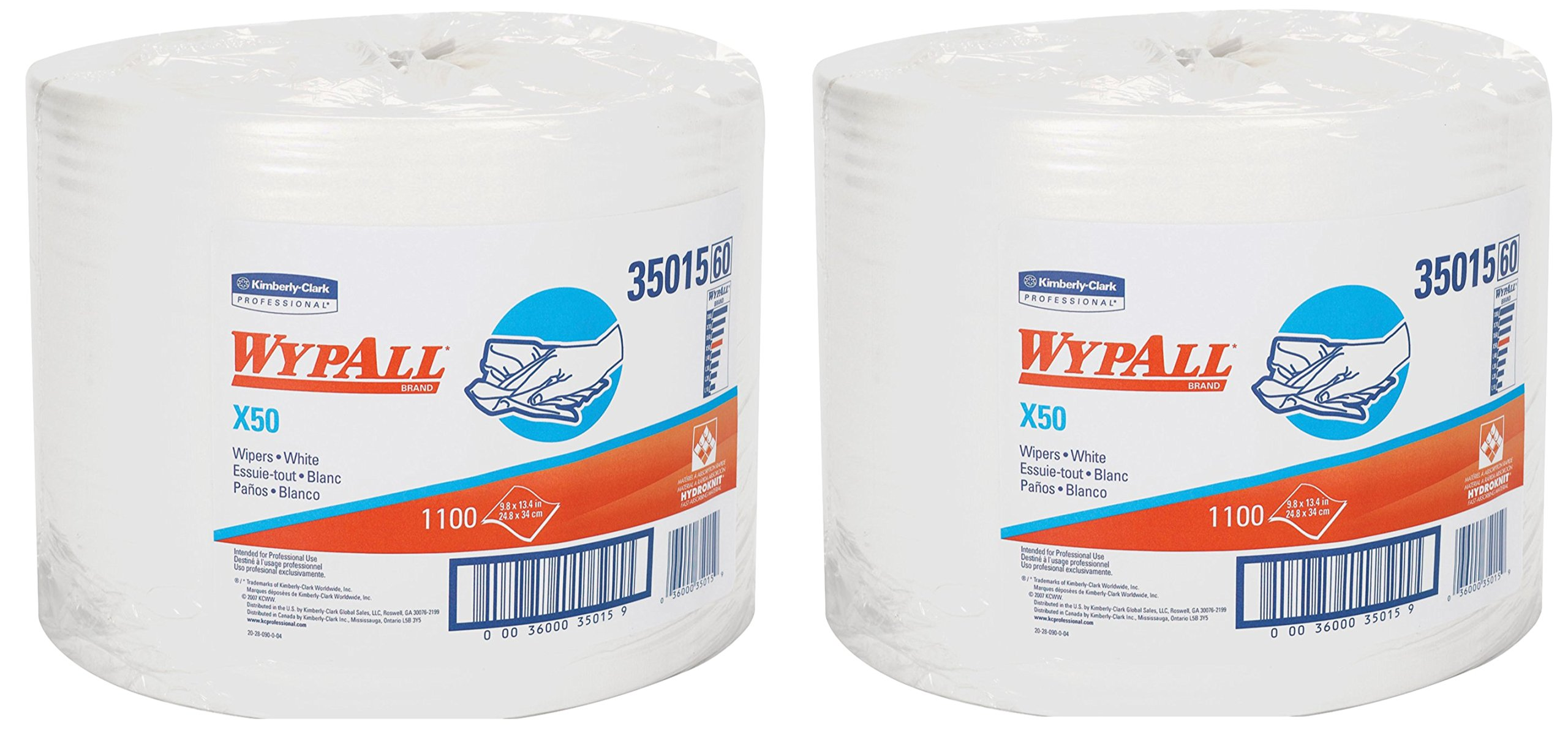 Wypall X50 Disposable Wipers (35015), Strong for Extended Use, Jumbo Roll, White, 1,100 Sheets / Roll (2)