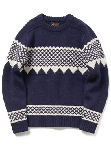 Snow Pattern Wool Crewneck Sweater 11-15-0689-048: Navy