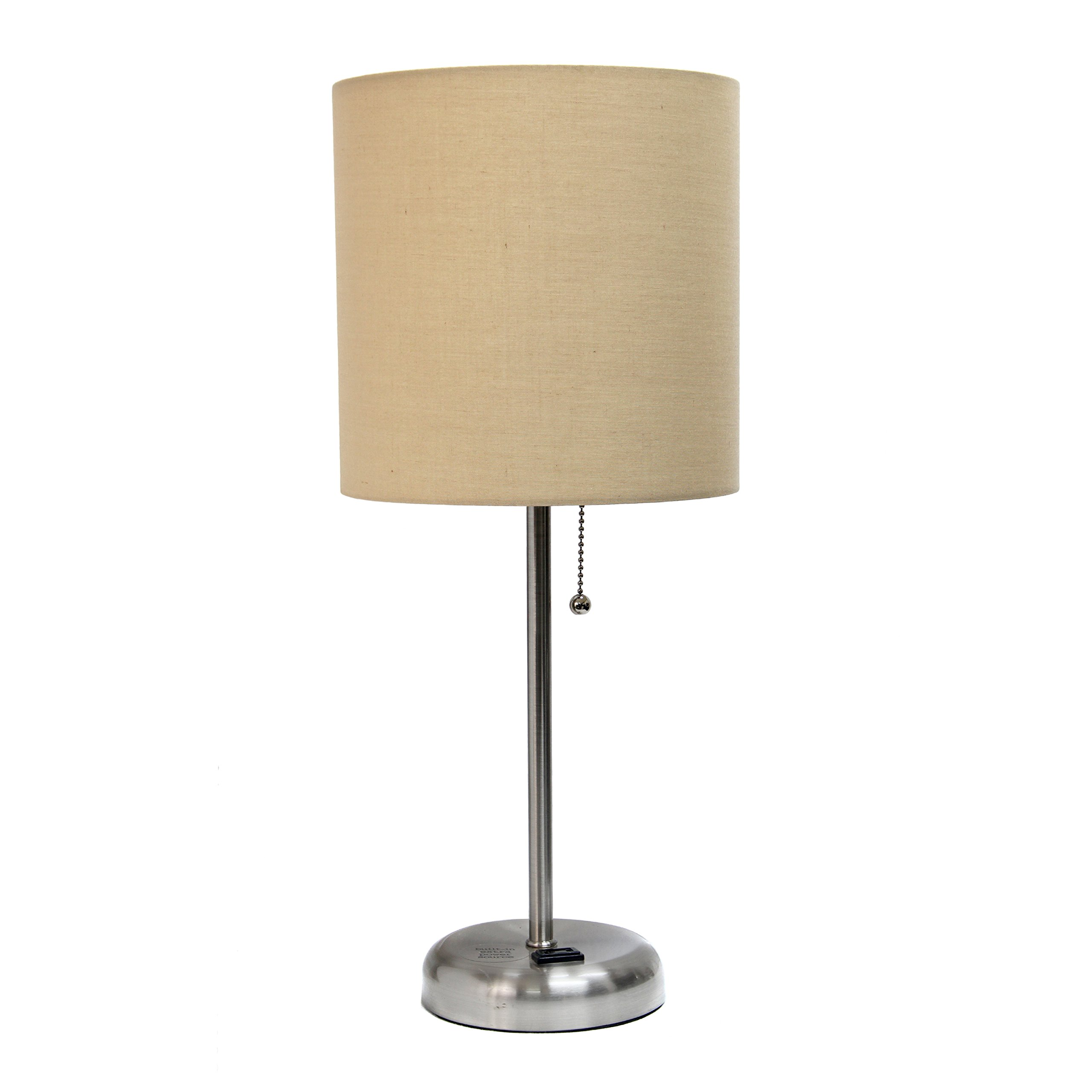 Limelights LT2024-TAN Brushed Steel Lamp with Charging Outlet and Fabric Shade, Tan