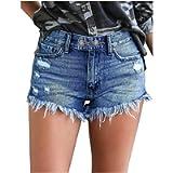 Matasleno Women's Casual Denim Shorts,Stretchy Frayed Raw Hem Hot Short Jeans with Pockets