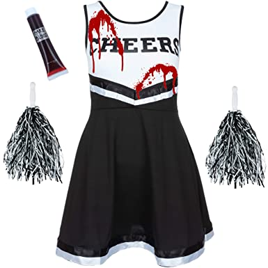 ladies redstar cheerleader costume outfit with pom poms fancy dress costume sports high school musical