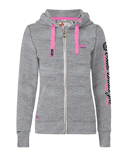 M.Conte Damen Sweatshirt Kapuzenjacke Hooded Sweater Sweat-Shirt-Jacke S M L XL Weiss Marine Blau Grau Melange Schwarz Pink K