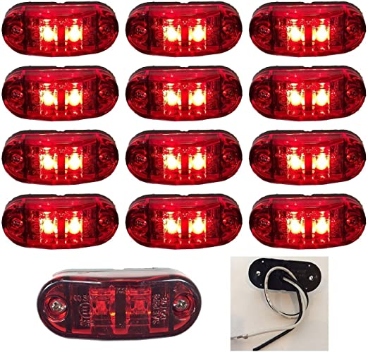 12, Red Zxlight 2.6x1 RED Surface Mount LED Clearance Marker Lights 12v for Trucks Campers Trailers Rvs