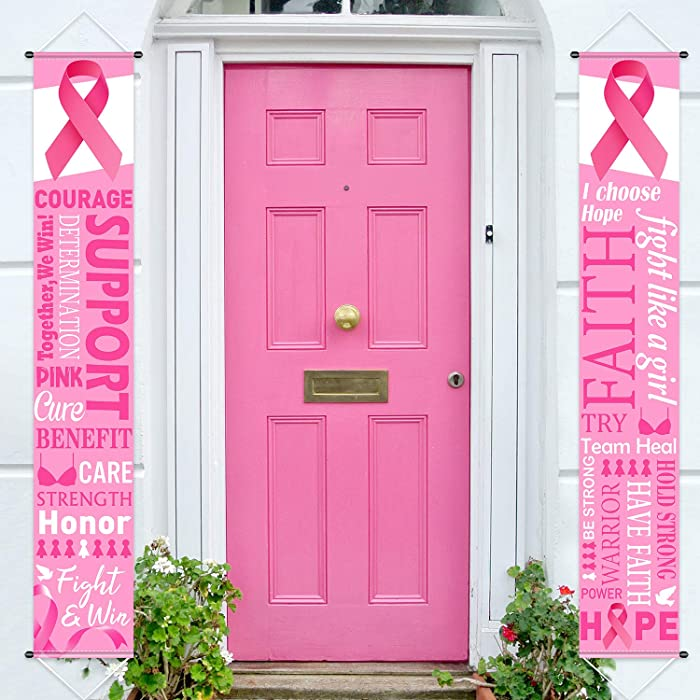 Pink Ribbon Party Decorations Breast Cancer Awareness Banner Porch Sign, Hope Strength Courage Faith Banners Backdrop for Pink Ribbon Breast Cancer Party Supply Decorations, 11.8 x 72 Inch